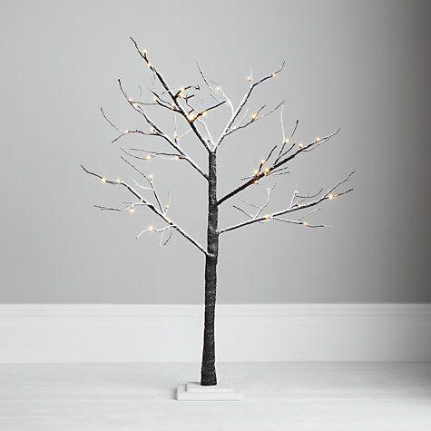John Lewis Outdoor Pre-lit Multi Function Snowy Paper Tree, 4ft   Twig christmas tree, Twig tree ...