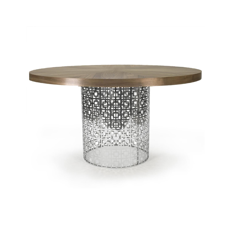 Jonathan Adler Nixon Dining Table In Nickel W Walnut Table Top Dining Table Walnut Table Top Metal Table Base