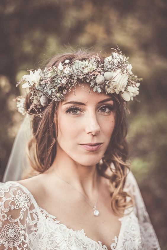 Bohemian Bride With Lace Dress And Flower Crown Winter Wedding Hair Wedding Hairstyles With Veil Flowers In Hair