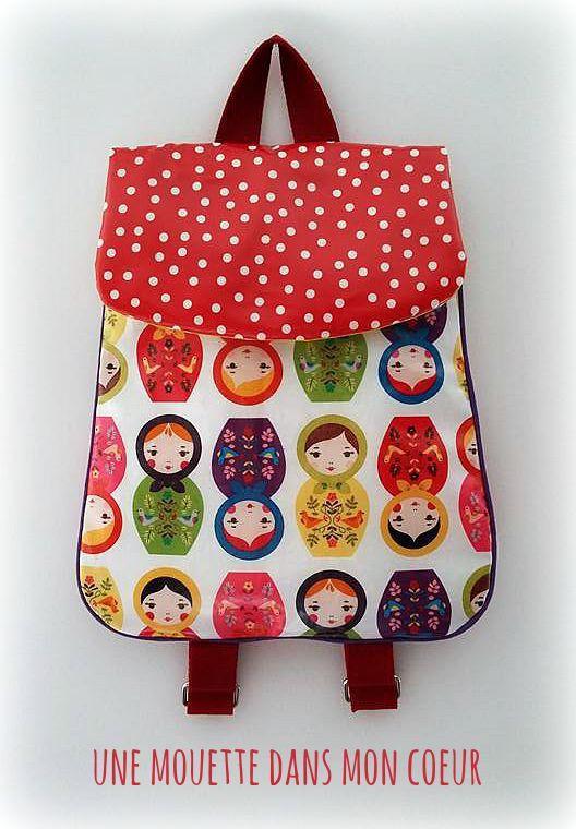 sac dos cartable maternelle ou cr che fille poup es russes sacs enfants par. Black Bedroom Furniture Sets. Home Design Ideas