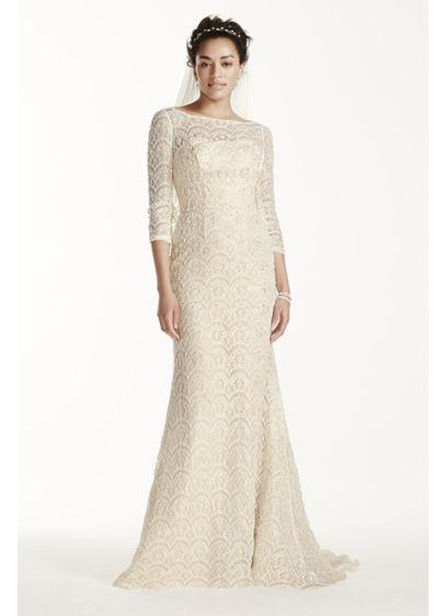 Oleg Cassini Beaded Lace 3/4 Sleeved Wedding Dress CWG711 | Kleider ...