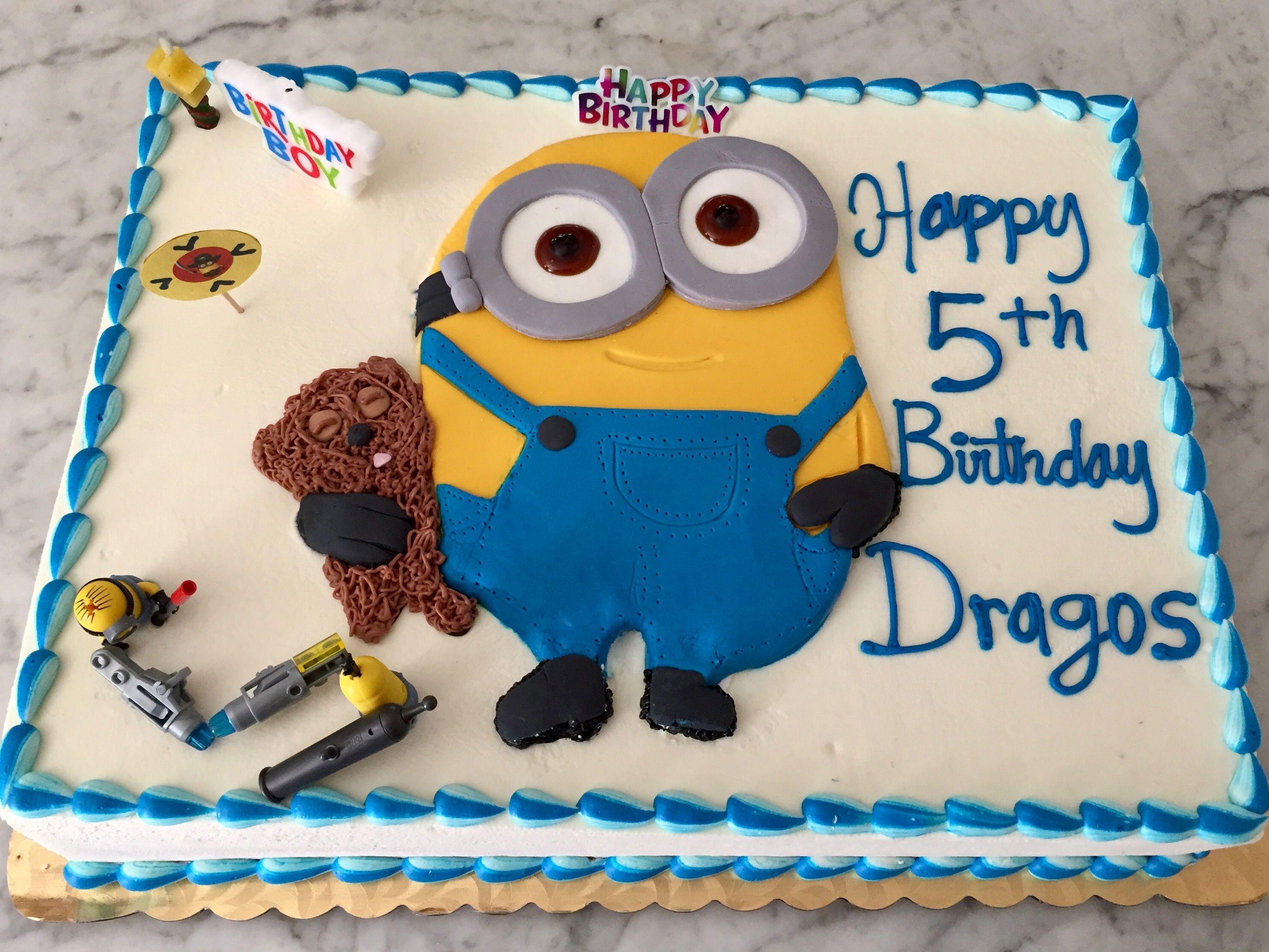 Strange Minion Birthday Cake My Five Year Old Loved This Fresh Whipped Funny Birthday Cards Online Unhofree Goldxyz