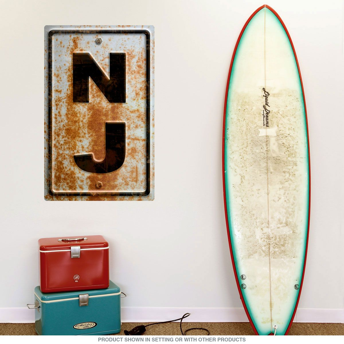 New Jersey NJ State Abbreviation Rusted Wall Decal | Coastal | Wall
