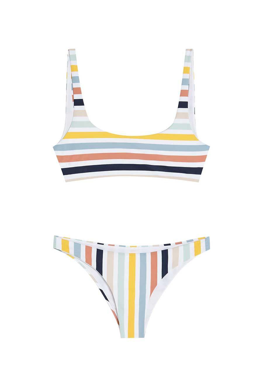 fba195266eee Bikinis de moda 2018: a rayas de Pull & Bear (top: 12,99 €; braguita: 9,99  €).