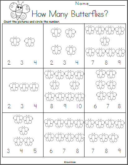 Count The Butterflies Math Worksheet Kindergarten Math