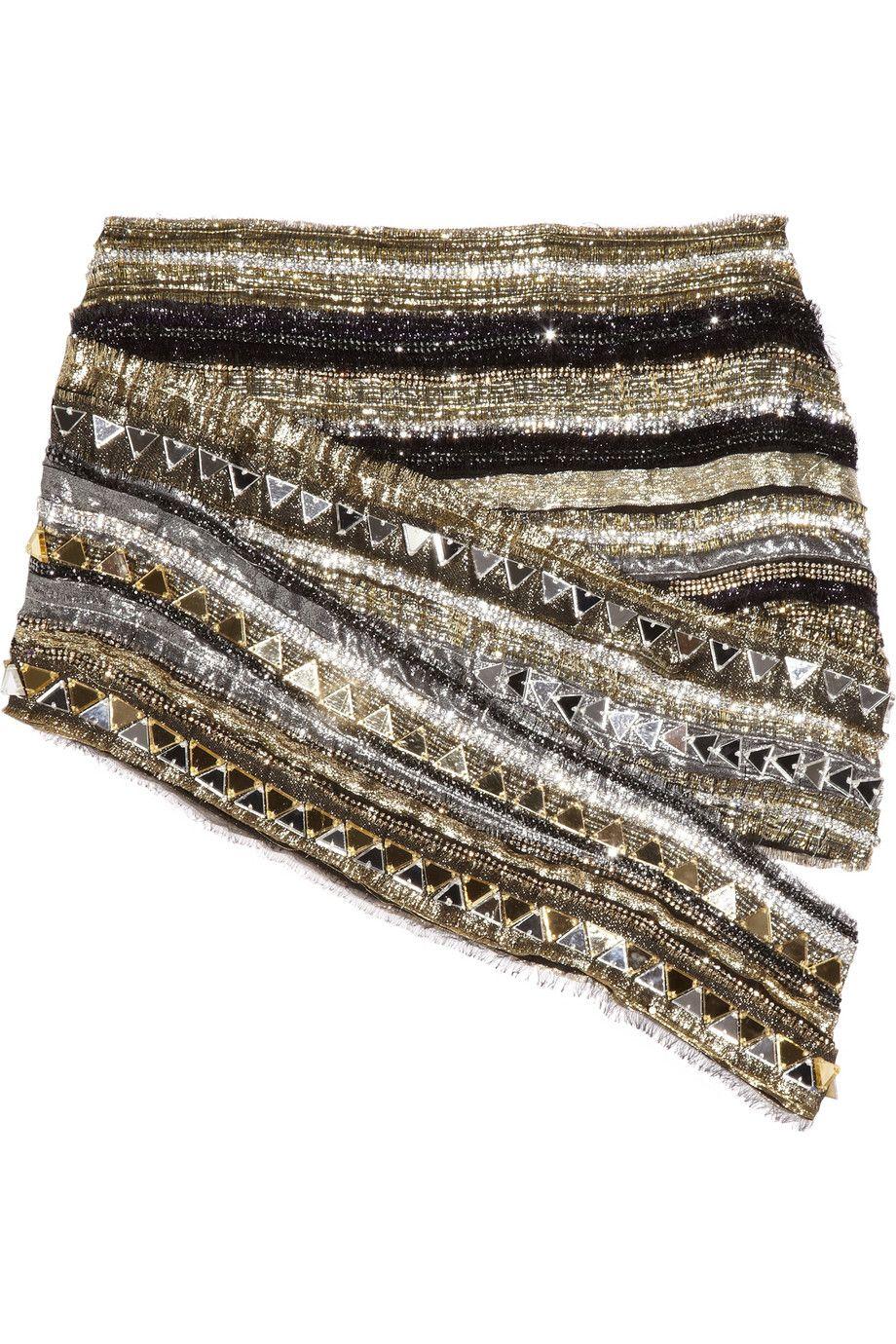 Balmain crystal-embellished metallic silk mini skirt