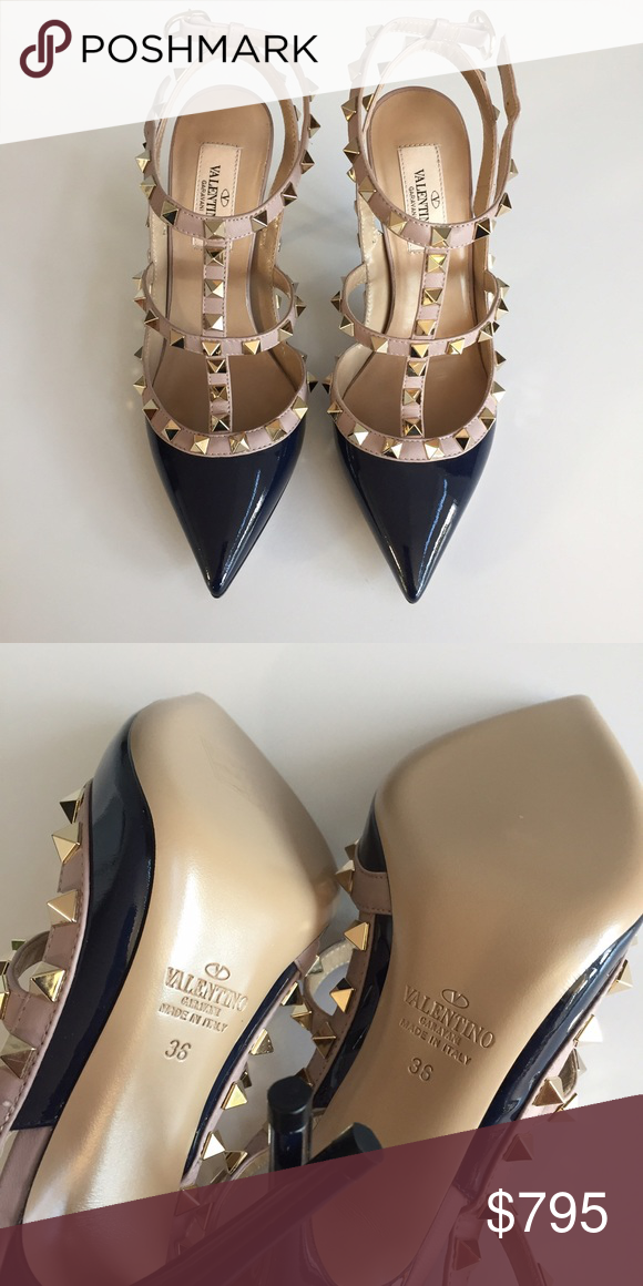 NIB Valentino rockstud heels 36 Comes with box and dustbag. Color is Marine patent - a dark blue color, pretty true to life in the photos. No trades. Please do not ask for lowest price -- use offer button. Price is lower direct and via merc app Valentino Shoes Heels