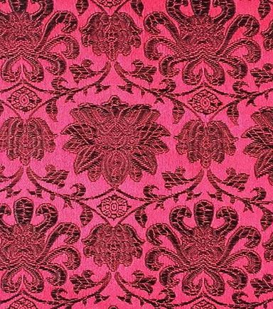 Brocade Fabric-Floral Red & Black