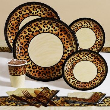 Wild Animal Print Birthday Party Supplies \u0026 Decoration Ideas : cheetah print paper plates - pezcame.com
