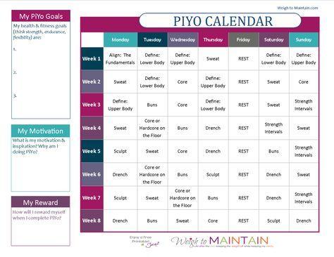 Printable PiYo Calendar and Workout Schedule Pinterest Workout