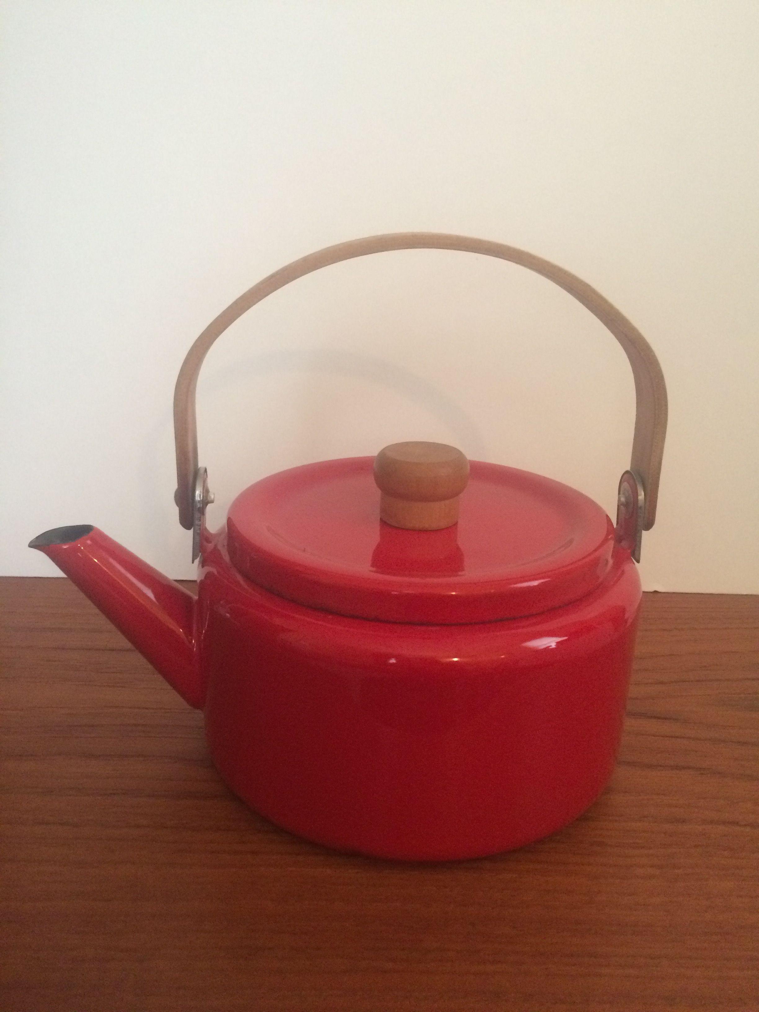 mcm red enamel tea pot w wood handles mcm enamel ware pinterest