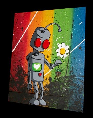 Original Robot Pop Painting by Mike Best - I Love You