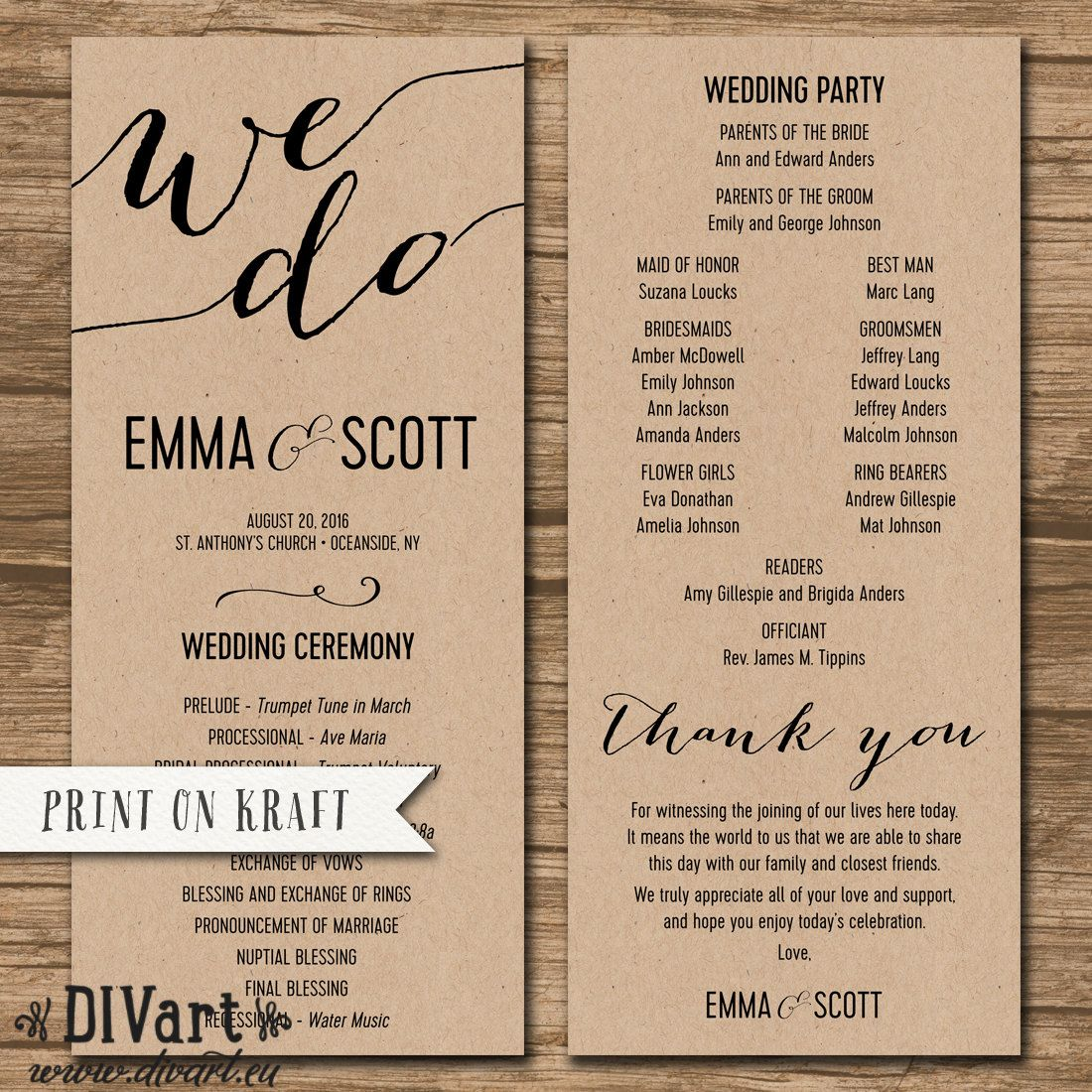Wedding Program Ceremony Order Order Of Events Double Sided Printable Files Simple And Elega Rustic Wedding Programs Wedding Programs Ceremony Programs