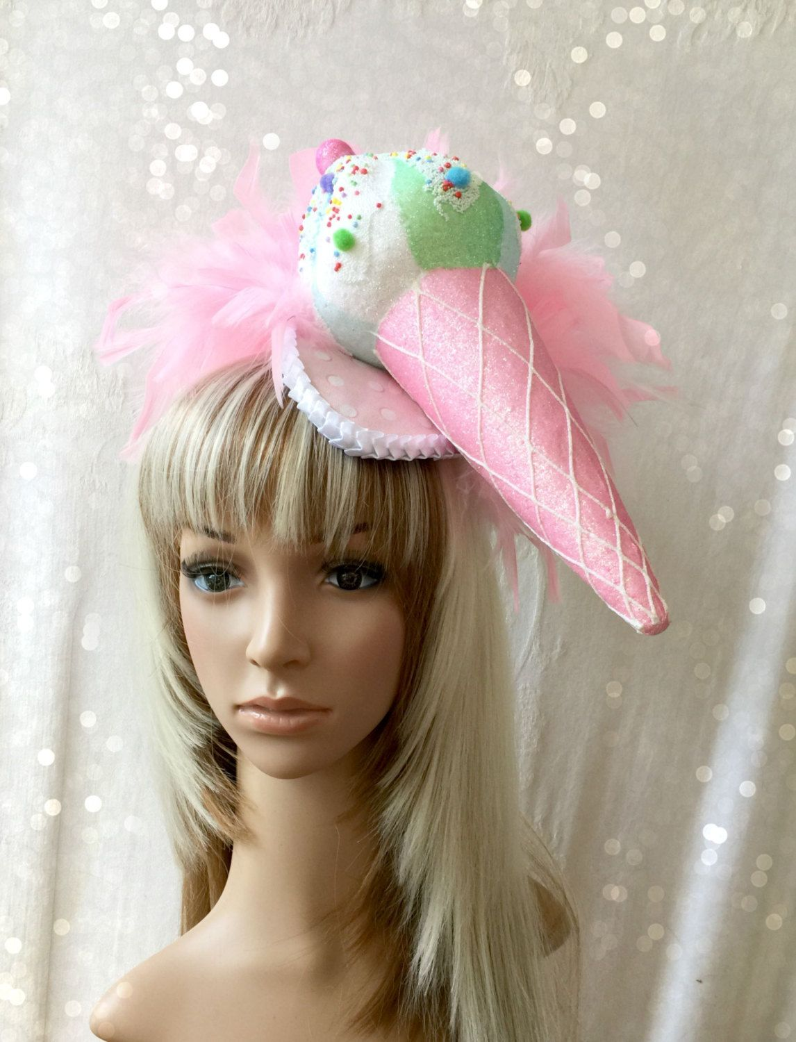Ice Cream Cone Hat Candy Party Fascinator Tear Drop Alice In Wonderland Pinned By Pin4etsy