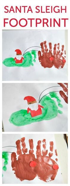 Santa Sleigh Craft Footprint #santafootprintideas