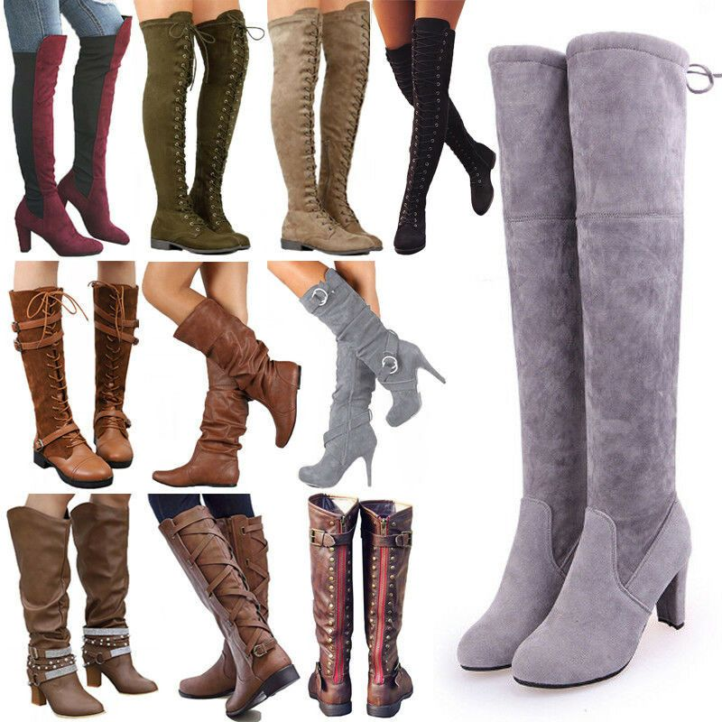 Womens ladies thigh high boots over the knee party stretch block high heels 3-8