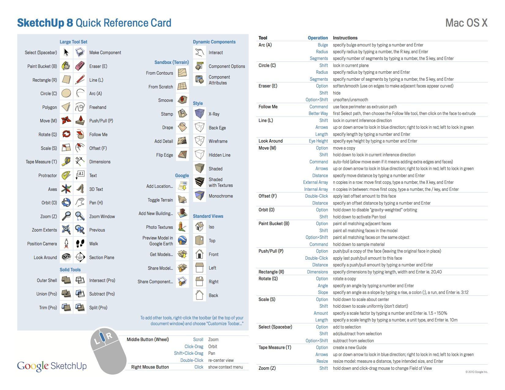 Sketchup8refcardmac Jpg 1 650 1 275 Pixels Reference Cards