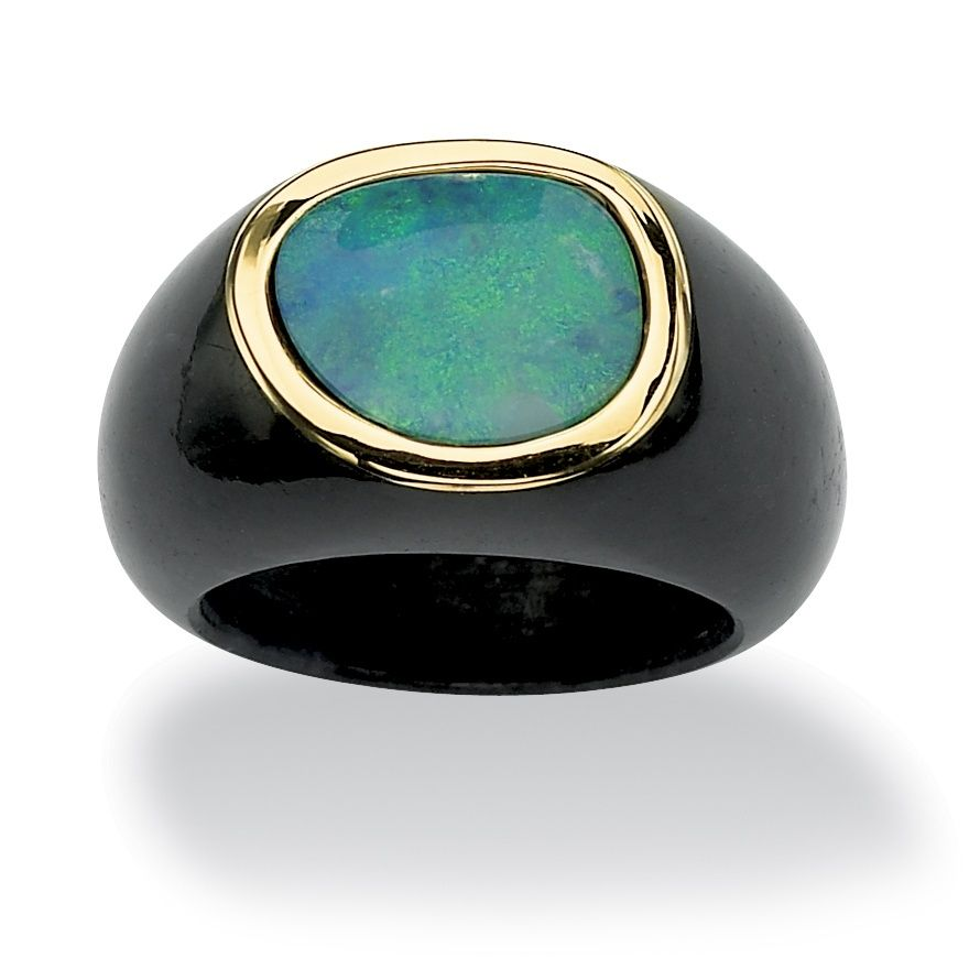 Blue opal and black jade ring10-karat yellow gold jewelryClick here for ring sizing guide