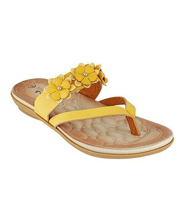 c38bd61a1 This Yellow Qiana Rhinestone Flower Strap Sandal is perfect!  zulilyfinds