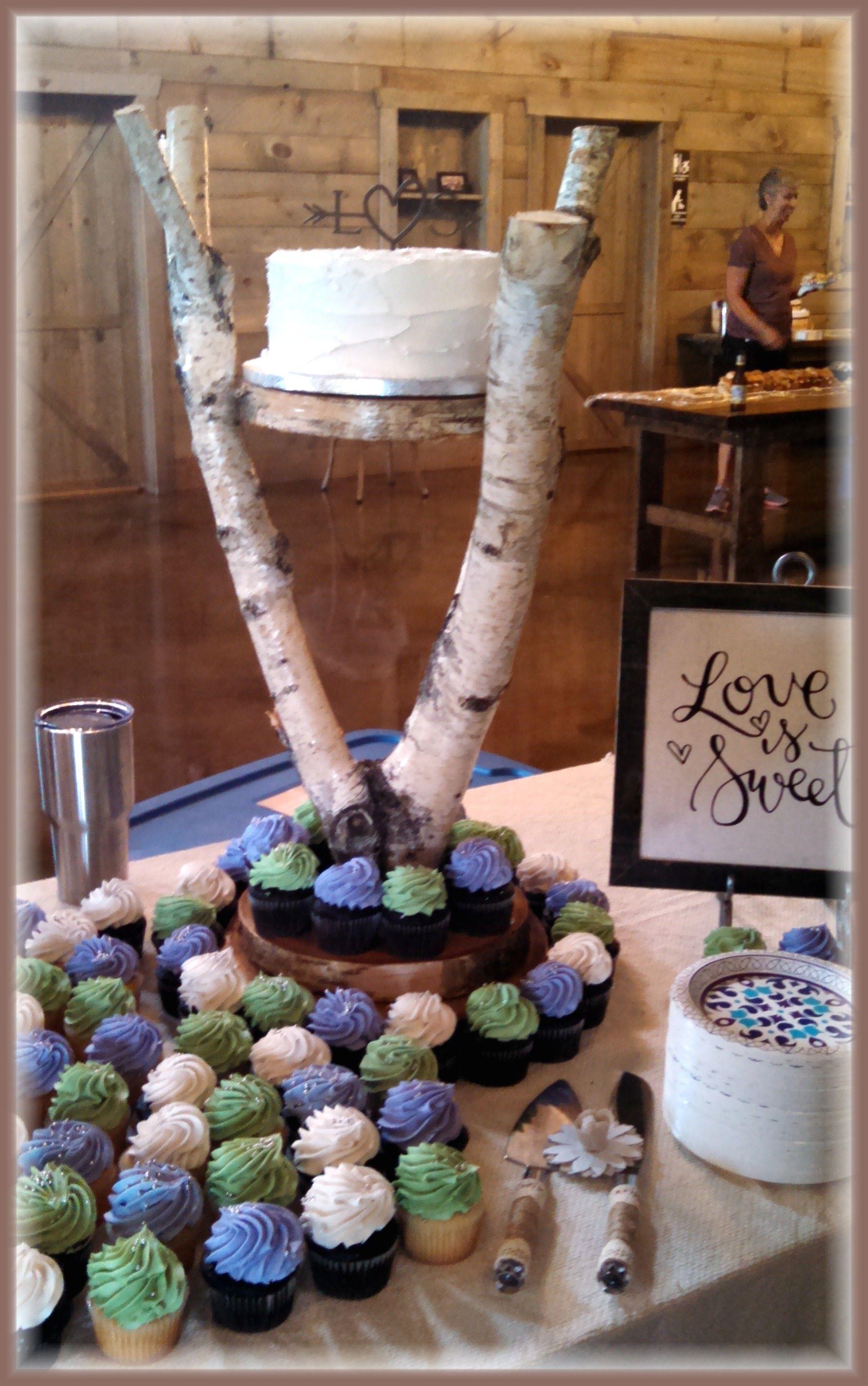 Cute rustic birch tree wedding cupcake stand with