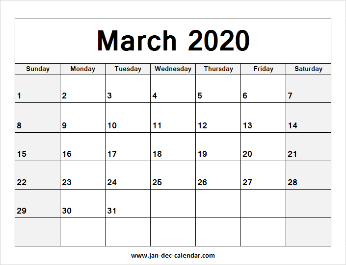 Blank Calendar February March 2020 Printable Blank Calendar March 2020 | January December Calendar | December