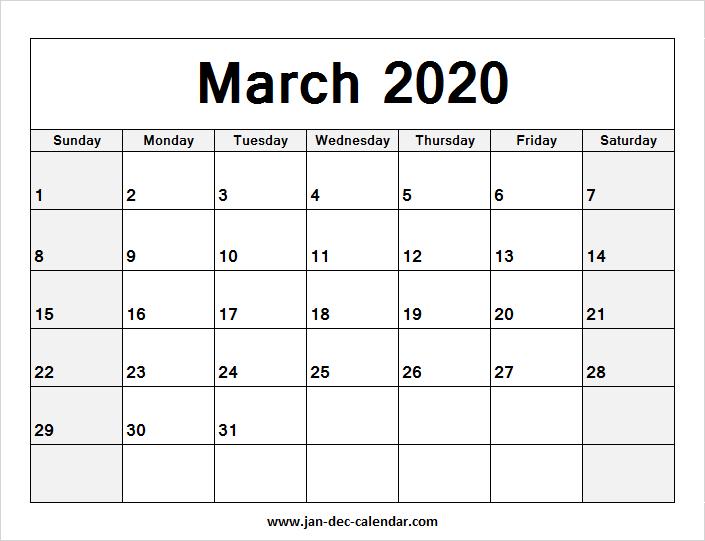 March Printable Calendar 2020 Blank Calendar March 2020 | January December Calendar | July