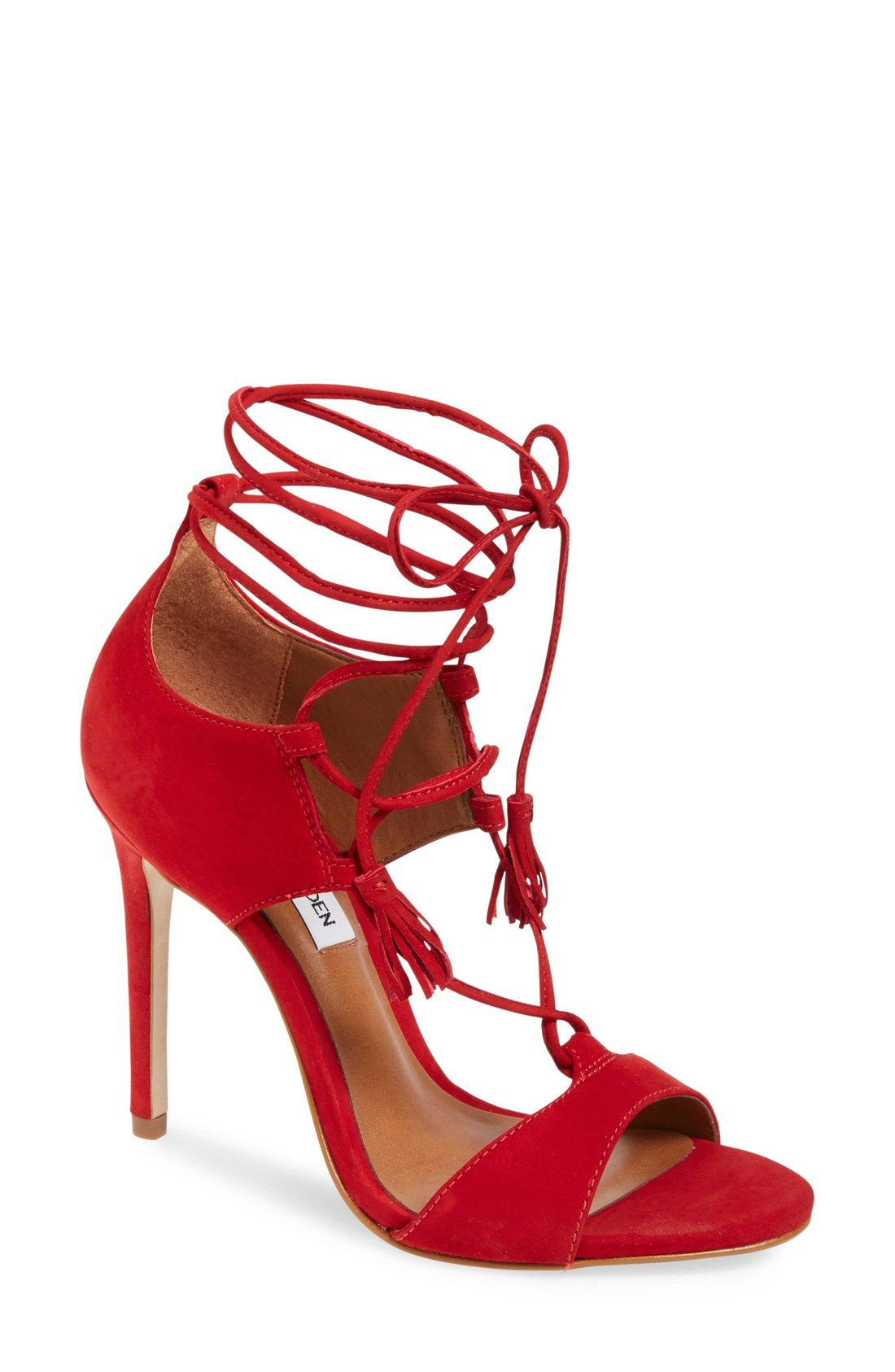 Accessorizing with a splash of red! These Steve Madden sandals lace up at  the ankles