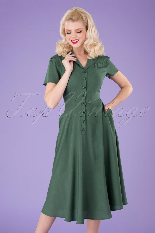 40s Gayle Plain Swing Dress In Green Swing Dress Fifties Style Dress Shirtwaist Dress [ 1530 x 1020 Pixel ]