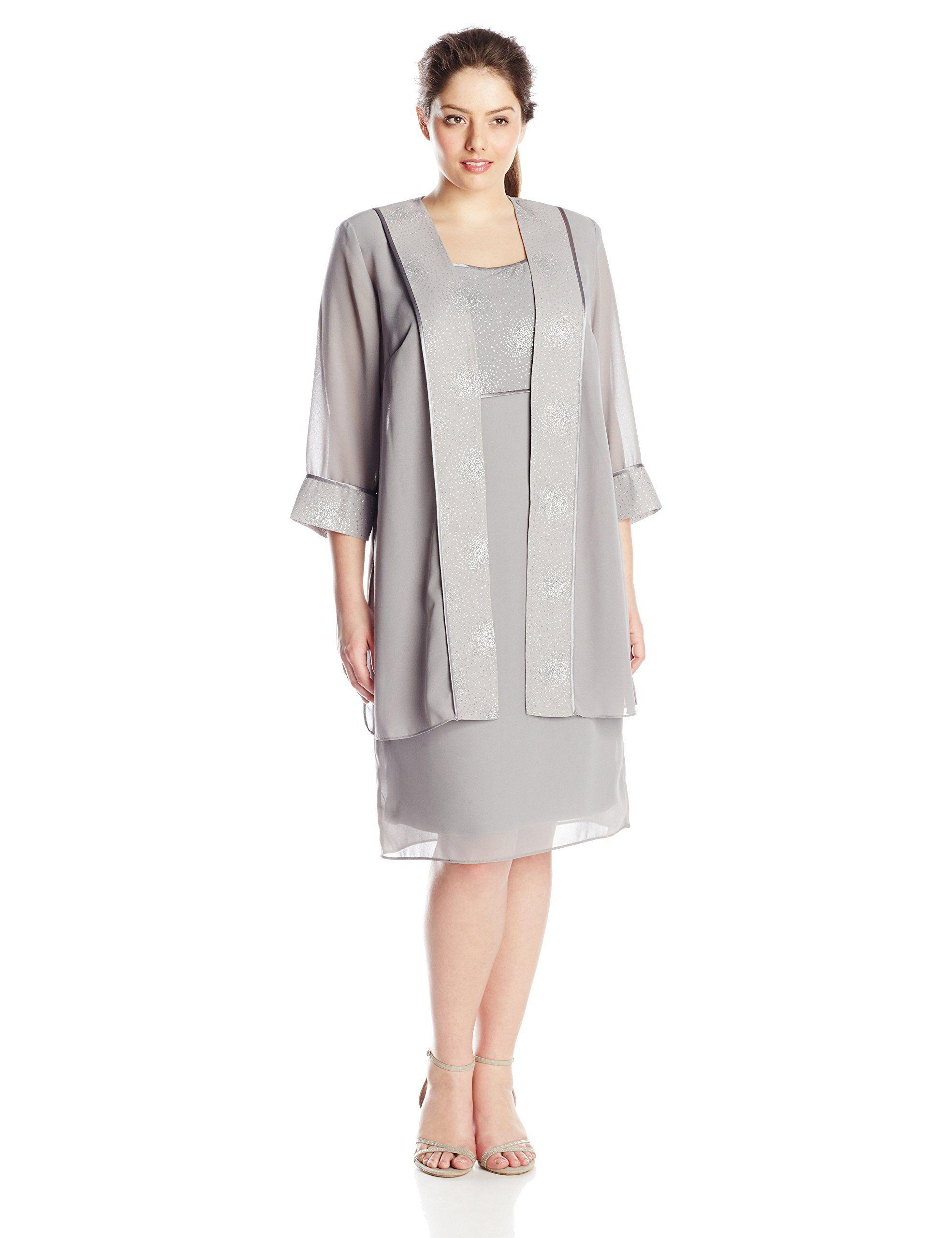 Dana Kay Womens Plus Size Glitter Duster Jacket Dress Silver 14w