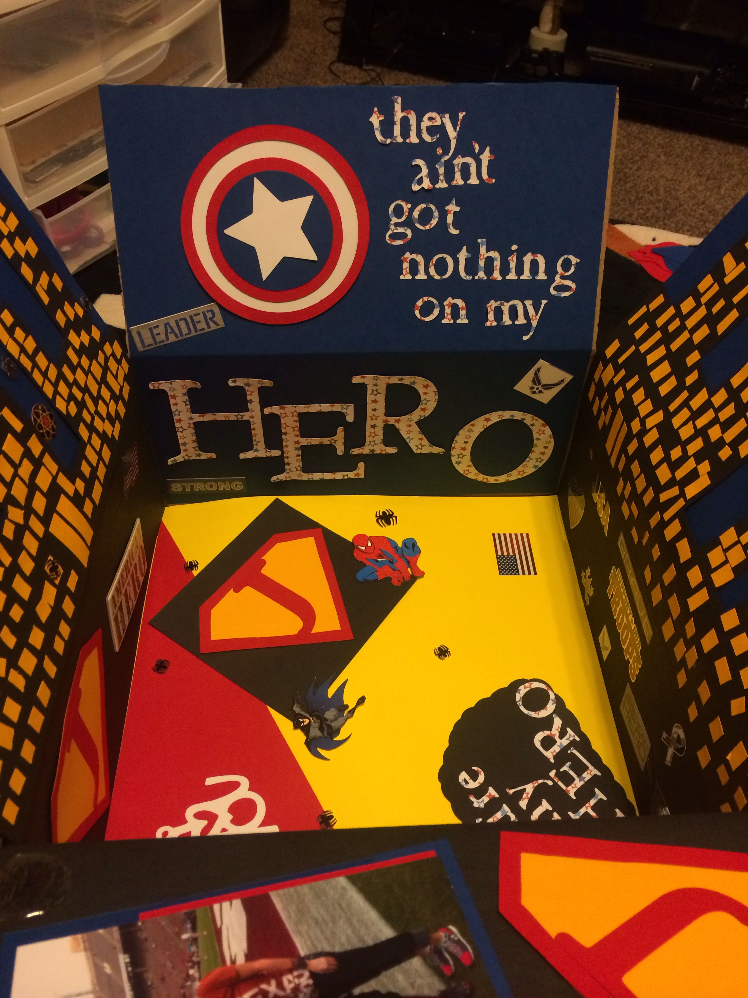 Super Hero deployment care package for my boyfriend. He's