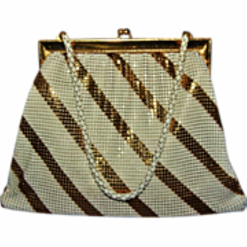For sale at Retrophoria.com, $100.00 - Whiting & Davis enameled purse with gold and white stripes.
