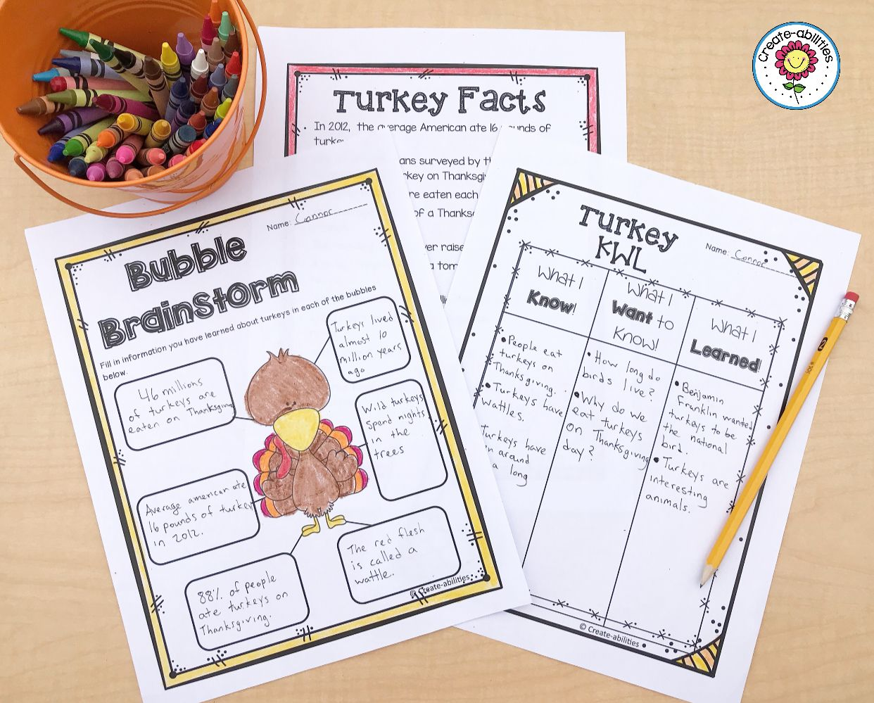Thanksgiving Turkey Pack Reading Writing And Math