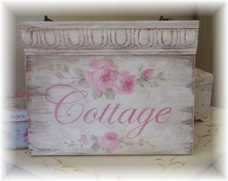 Cottage Roses Hand Painted Sign  60.00
