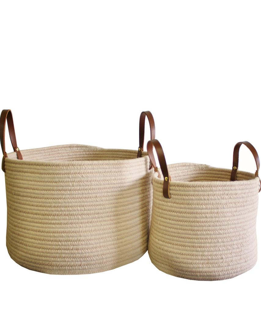 """Braided Wool Baskets, Sand with Leather Handles SM 12"""" $58, LG 18"""" $98"""