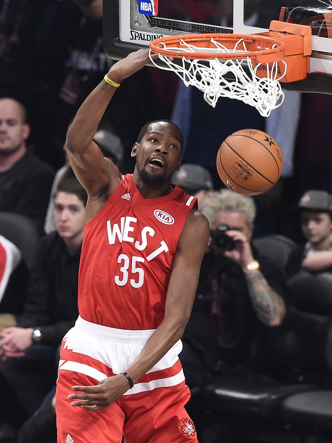 Western Conference forward Kevin Durant dunks during the