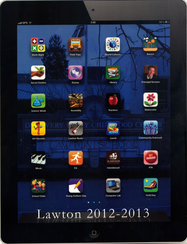 Elementary school scrapbook ideas - Lawson Elementary School Yearbook Cover That Looks Like An Ipad