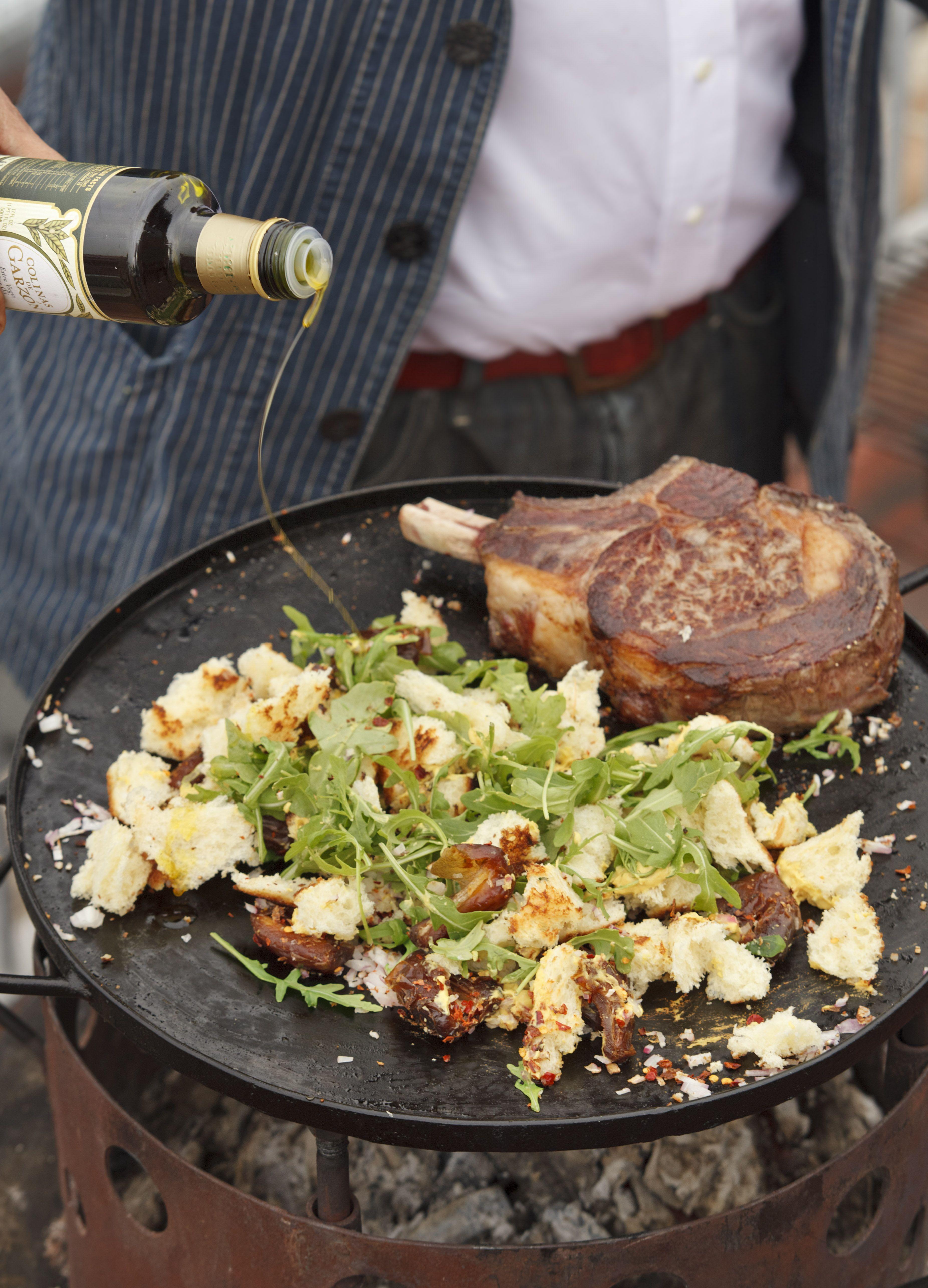 Cowboy rib eye a la plancha with crispy brioche salad and