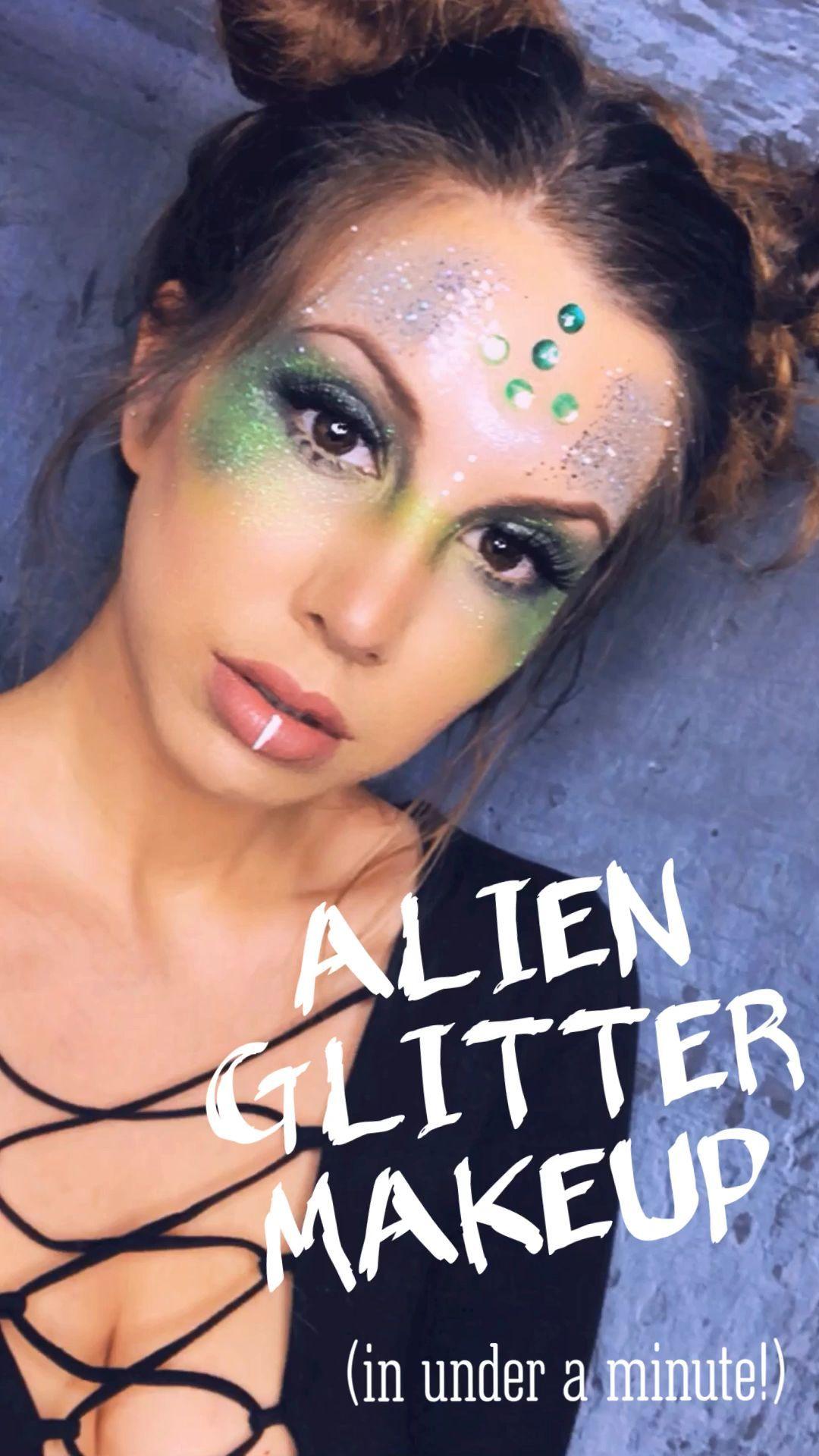 Alien Glitter Makeup Alien makeup, Alien halloween