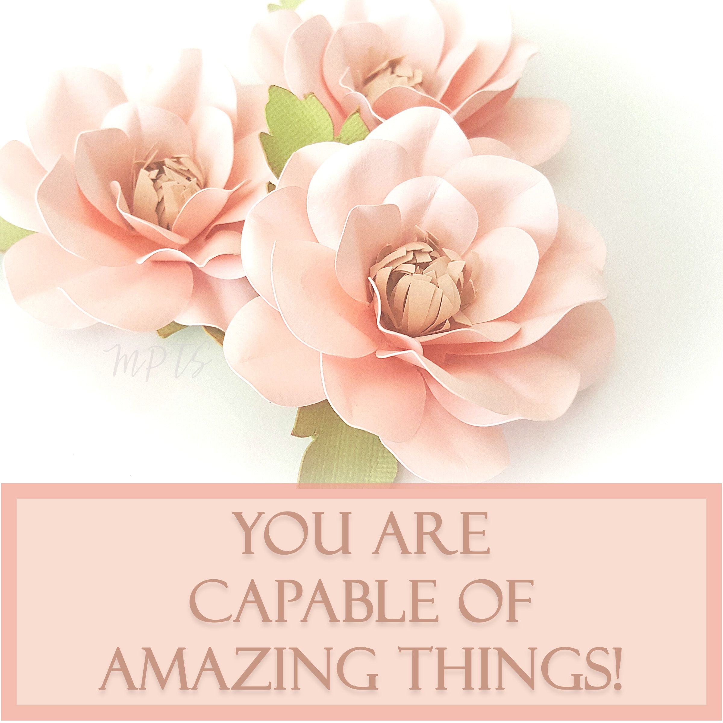 Paper Flowers Motivational Quotes Pink Shabby Chic Flower