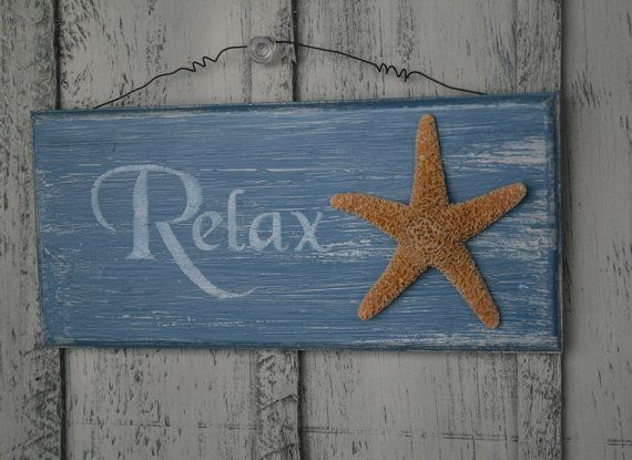 Starfish Decor Relax Sign, Tropical Beach House Nautical
