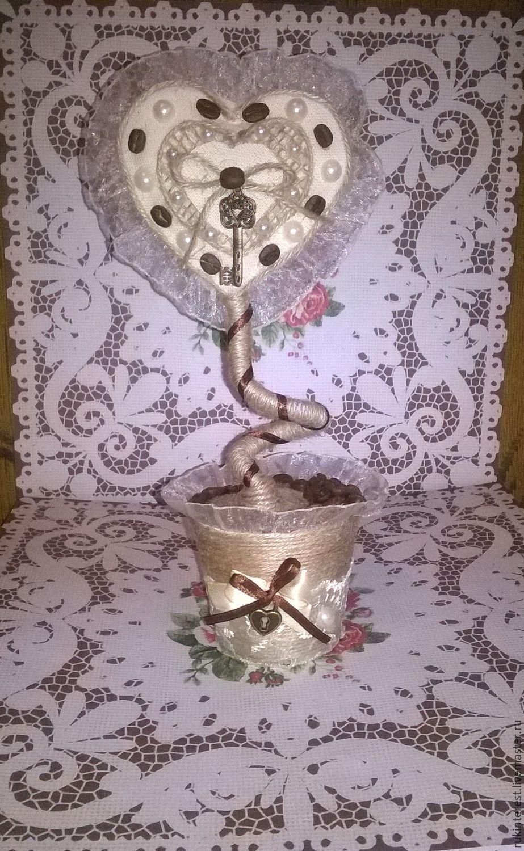 Купить Топиарий - комбинированный, топиарий ручной работы, топиарий, кружево, кофейные зерна, кофейные зёрна