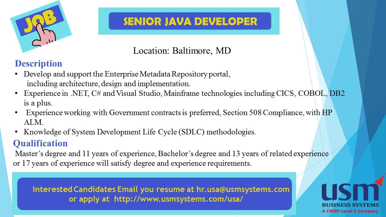 Job Vacancy For  Senior Java Developer  In Baltimore  Md
