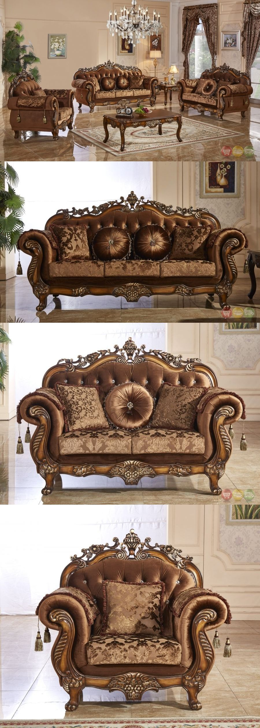 Furniture 3 Pc Traditional Style Formal Living Room Brown Sofa Set Carved Frames