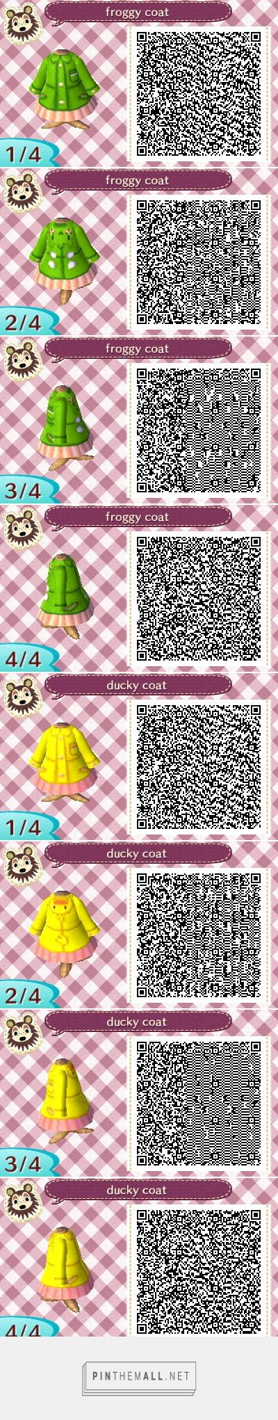 Frog And Duck Raincoat With Images Qr Codes Animal Crossing