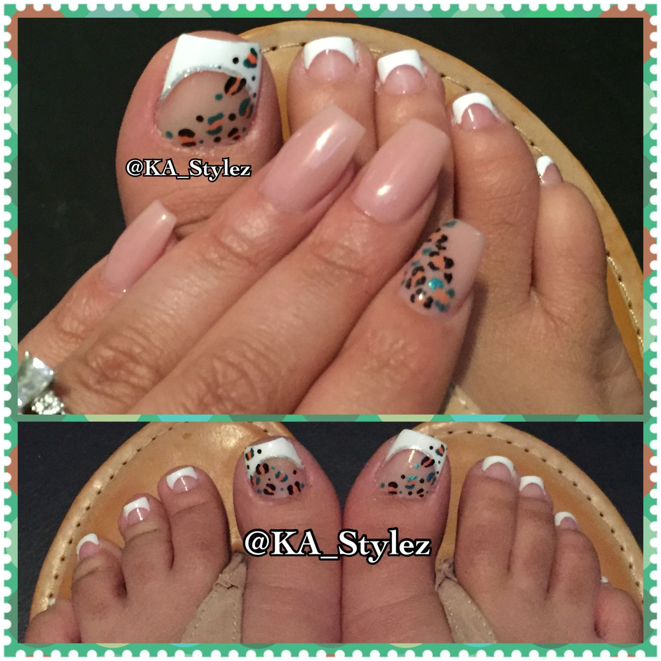 My French toes with leopard print and my nails done by Nuni Torres ...