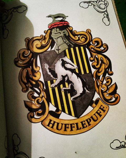 Sianna On Instagram Nearly Finished The Hufflepuff Coat Of Arms In The Harry Potter Col Harry Potter Coloring Book Harry Potter Coloring Pages Coloring Books