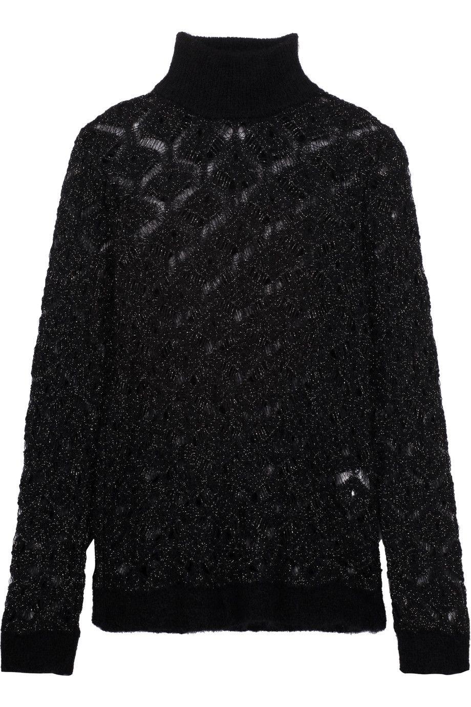 BALMAIN Metallic Open-Knit Mohair-Blend Turtleneck Sweater. #balmain #cloth  #
