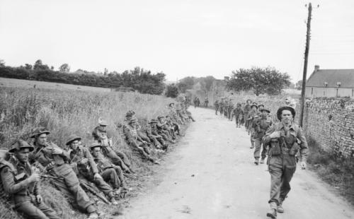 Infantry near St Gabriel, Normandy/6 June 1944.