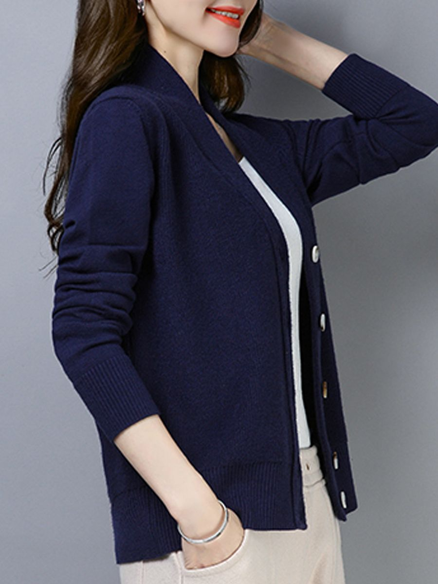 V Neck Patchwork Brief Plain Long Sleeve Knit Cardigan