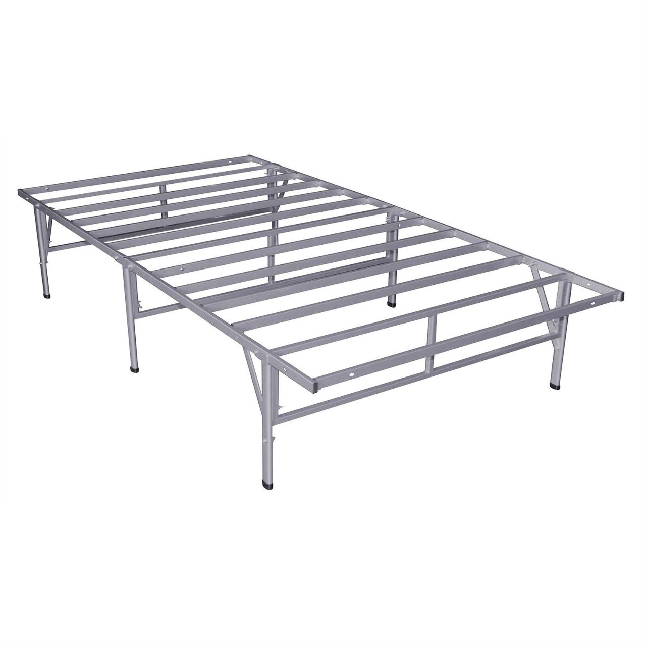 Twin Steel Platform Bed Frame in Silver Grey Metal Finish | Metal ...